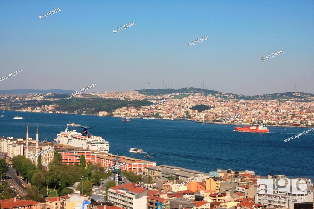 Photo de stock: Istanbul, Turkey, overview, Bosporus, Asia, canal, channel, Beyoglu, town, city, roofs, travel, tourism,.