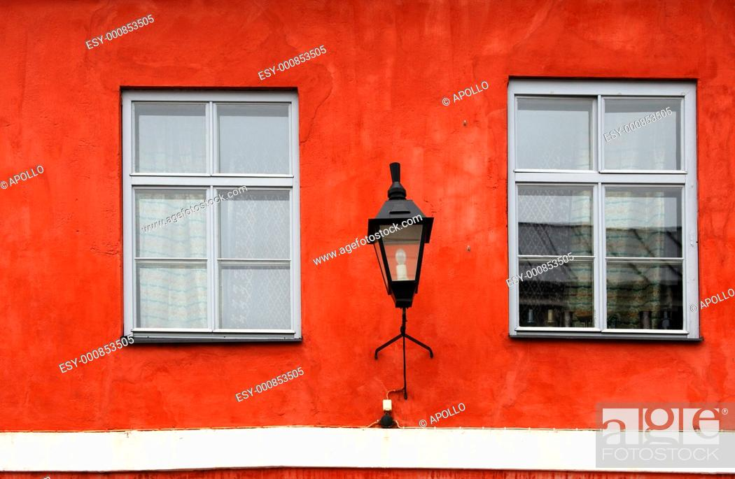 Stock Photo: Windows and lantern of the former residence of the Russian Czar Aleksander I in the Old Town of Porvoo, Finland.