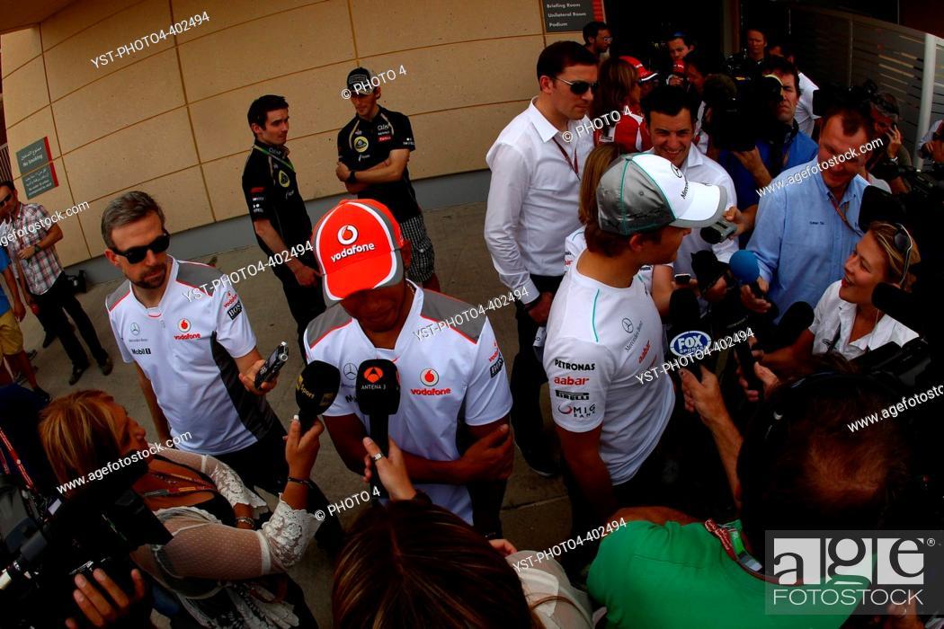 6efb2c60ad1 Stock Photo - 19.04.2012- Lewis Hamilton (GBR) McLaren Mercedes MP4-27 and Nico  Rosberg (GER) Mercedes AMG F1 W03