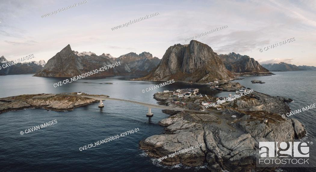 Stock Photo: panoramic view of the mountains and islands around lofoten.