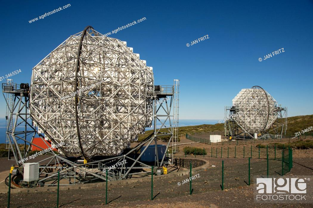 Stock Photo: famous telescopes at the caldera of Taburiente volcano on La Palma, Spain. So called Roque de los Muchachos.