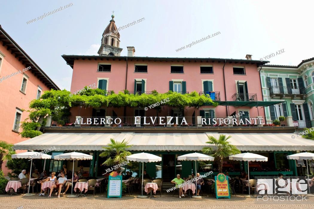 Stock Photo: Switzerland, Canton Ticino, Ascona, Albergo Helvetia.