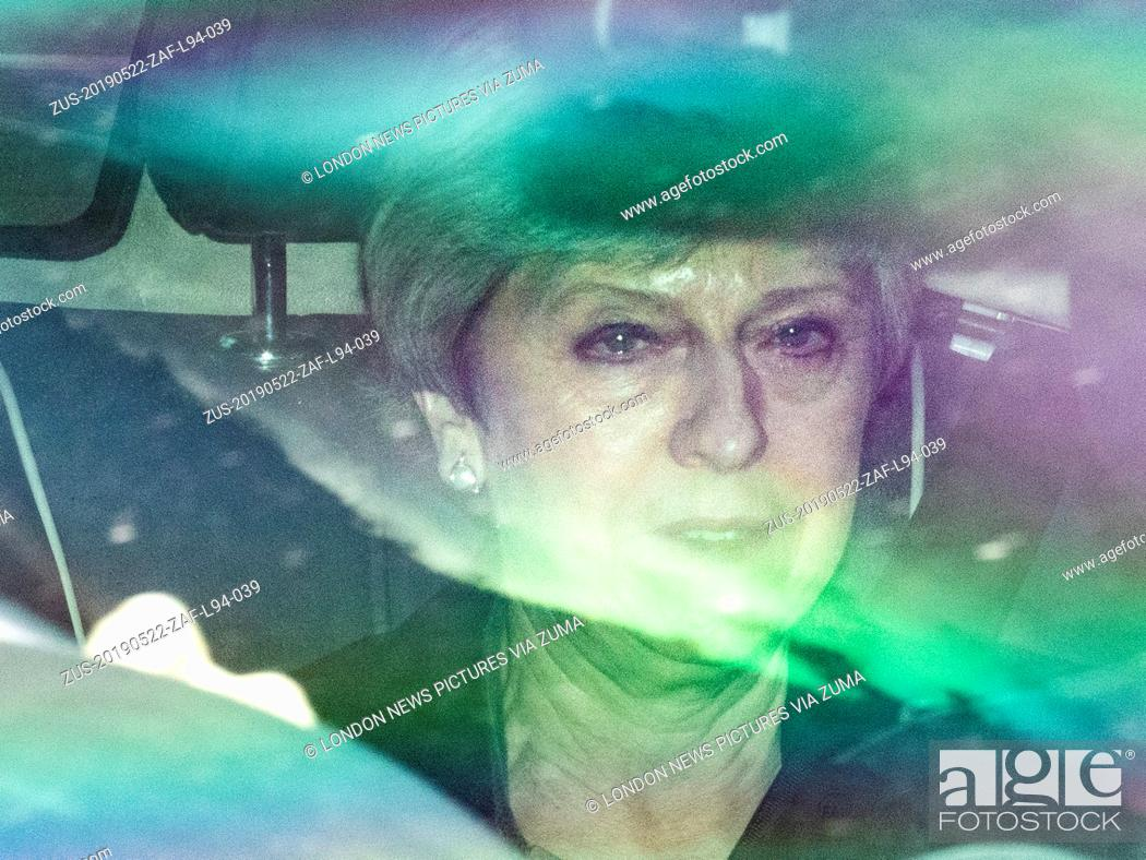 Stock Photo: May 22, 2019 - London, London, UK - London, UK. Prime Minister Theresa May leaves Parliament after Prime Minister's Questions and outlining changes to the.