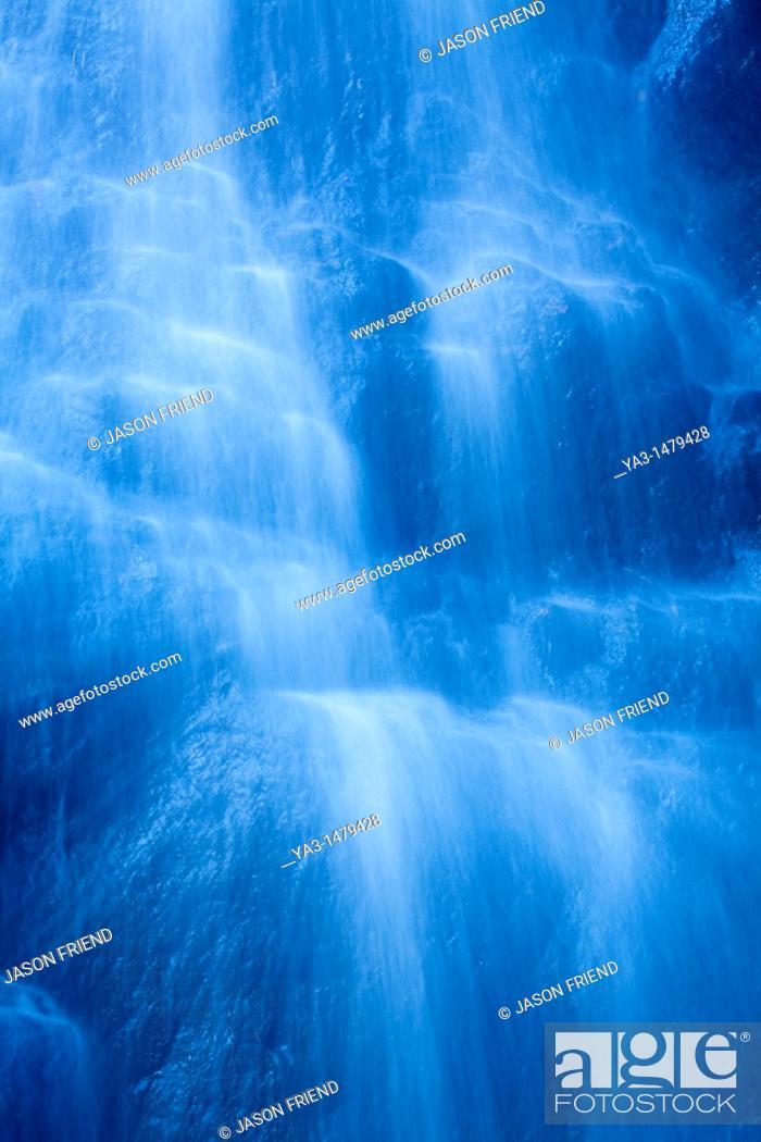 Stock Photo: England, Northumberland, Hareshaw Linn  Detail shot of a cascade of water, part of the Hareshaw Linn waterfall.