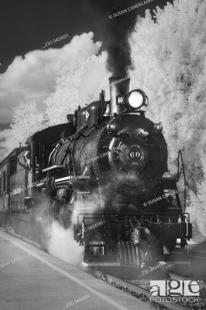Stock Photo: Black River & Western Railroad - Infrared black and white view to the American Locomotive Company vintage steam railroad train. .