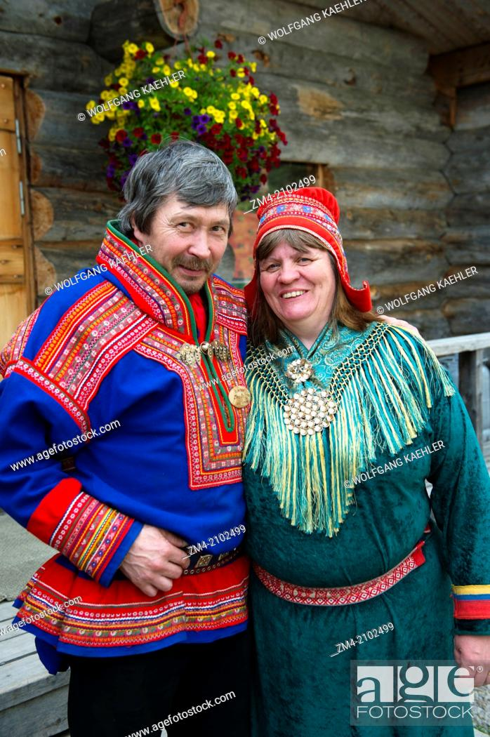 d4794df6ae2 Stock Photo - Sami couple in traditional clothing near Ivalo