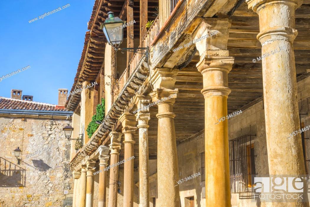Stock Photo: Facade of house. Plaza Mayor, Pedraza, Segovia province, Castilla Leon, Spain.
