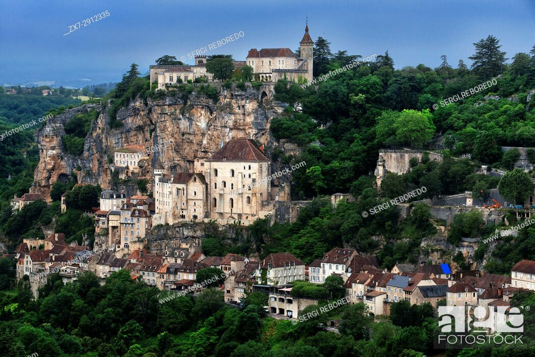Stock Photo: View over Medieval town of Rocamadour, Lot Department, Midi-Pyrenees, France.