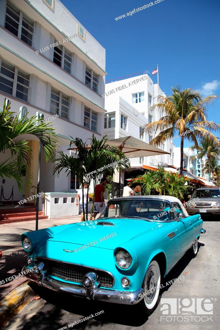 Stock Photo: Old car on Ocean Drive, Miami Beach, Florida, USA.