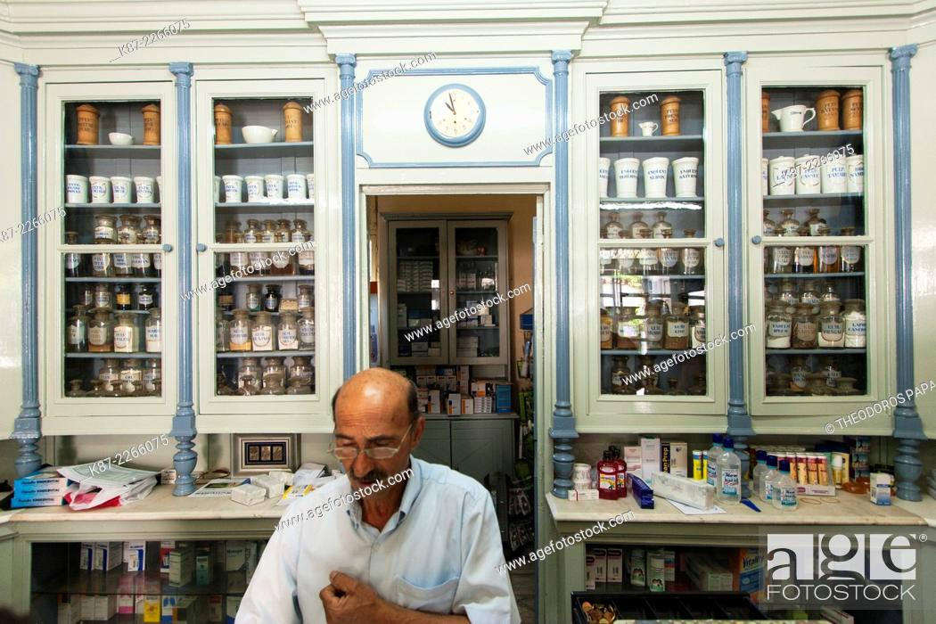 Stock Photo: A local pharmacist shop at Leonidio town.