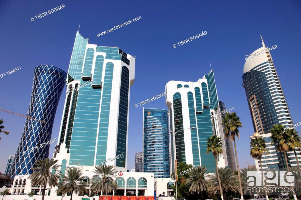 Stock Photo: Qatar, Doha, Al Corniche Street, modern architecture, skyscrapers,.