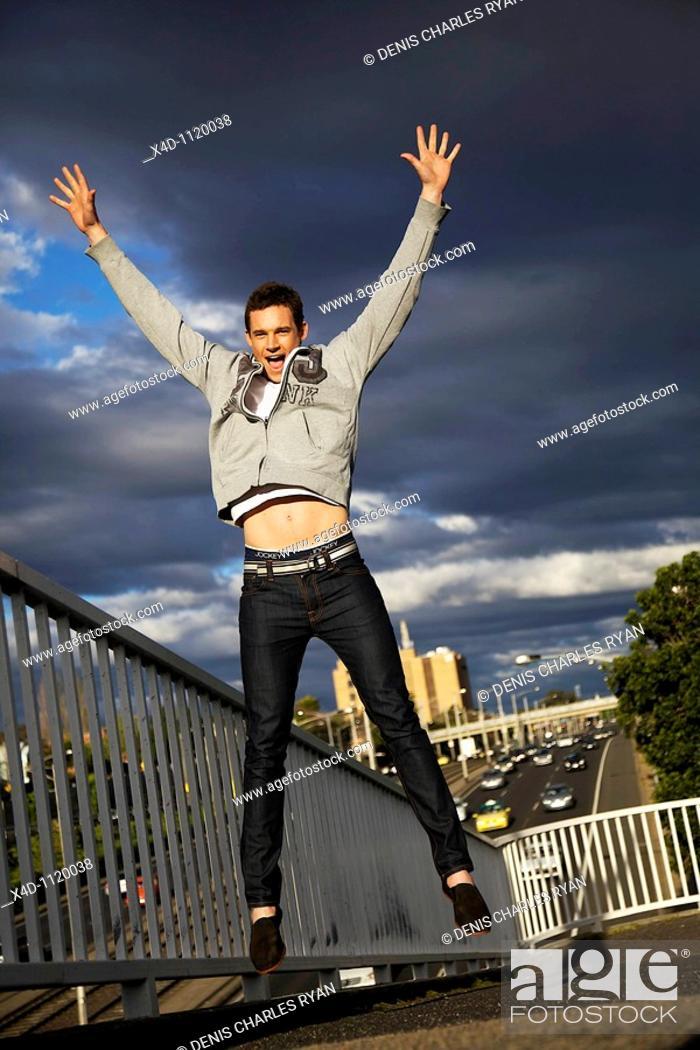 Stock Photo: Exhilarated man.
