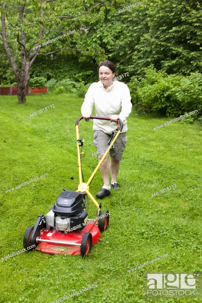 Stock Photo: Lawn mowing.