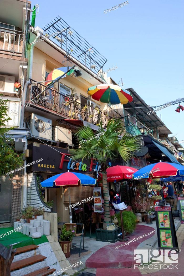 Stock Photo: Residential building and a cafe at Sai Kung, Hong Kong.
