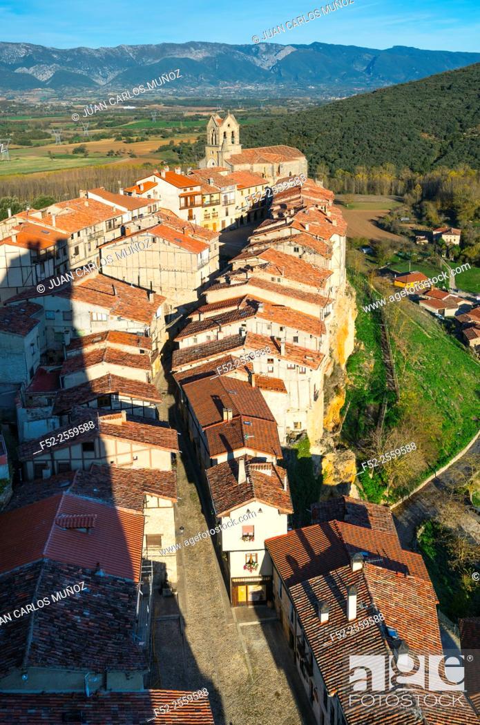 Stock Photo: Frías view from the castle (12th-15th century), Frias village, Las Merindades, Burgos, Castilla y Leon, Spain, Europe.