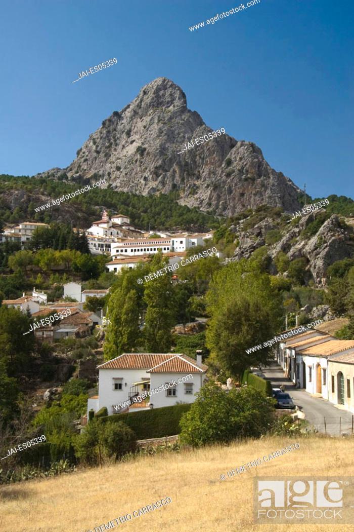 Stock Photo: Grazalema Village & Sierra de Grazalema Natural Park, Cadiz Province, Andalucia, Spain.