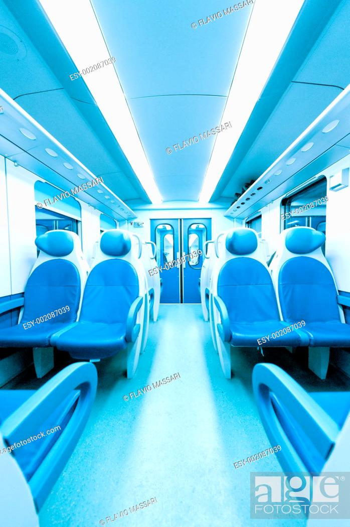 Stock Photo: Inside a train without persons.