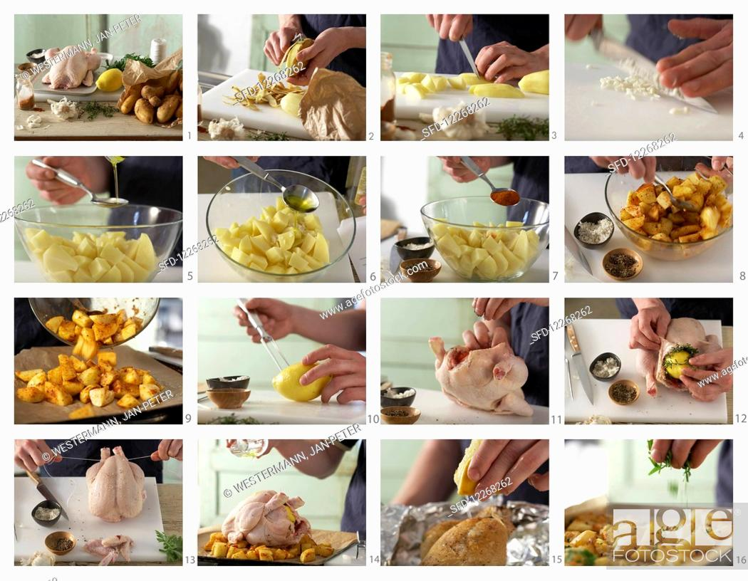 Photo de stock: How to make roast chicken with potatoes and lemon.