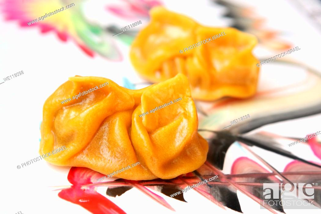 Stock Photo: Steamed Gyoza Jiaozi A Chinese dumpling.