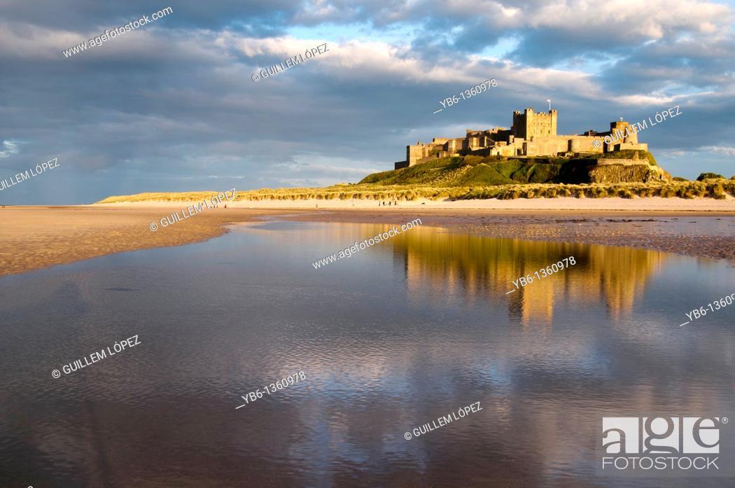 Stock Photo: Bamburgh Castle in Berwick Upon Tweed, England, UK.