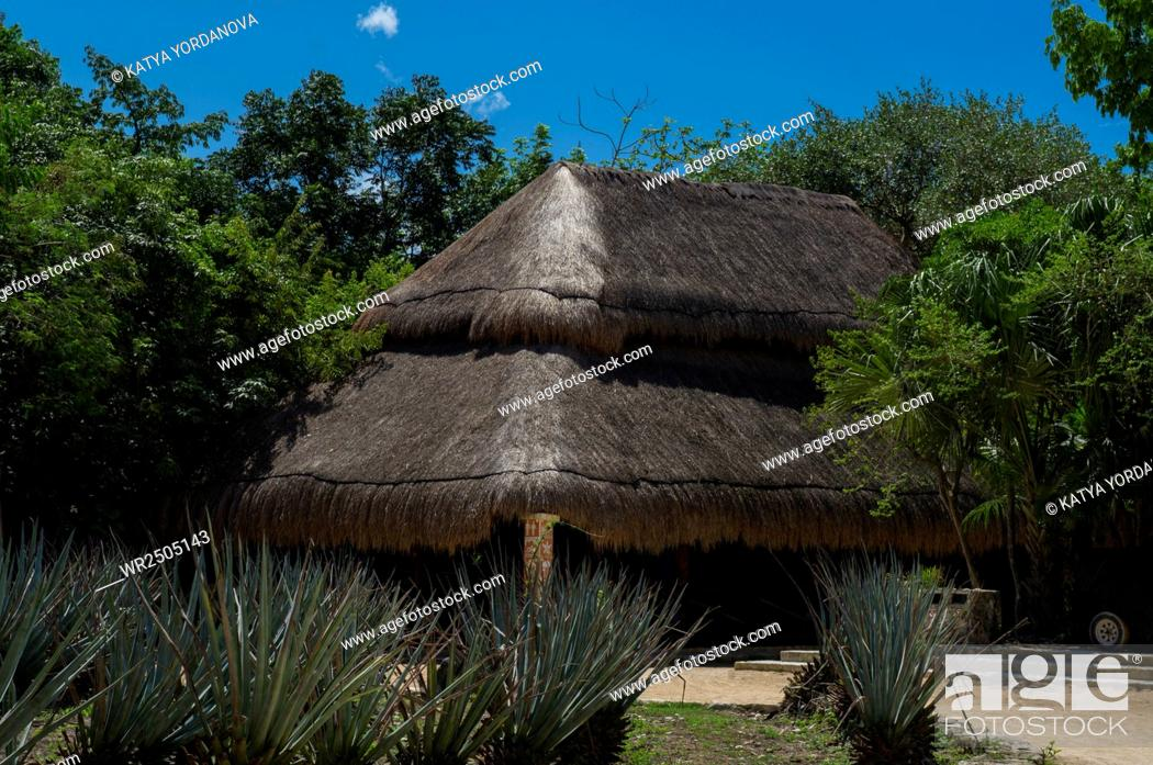 Imagen: A thatch hut in Xcaret, Mexico.