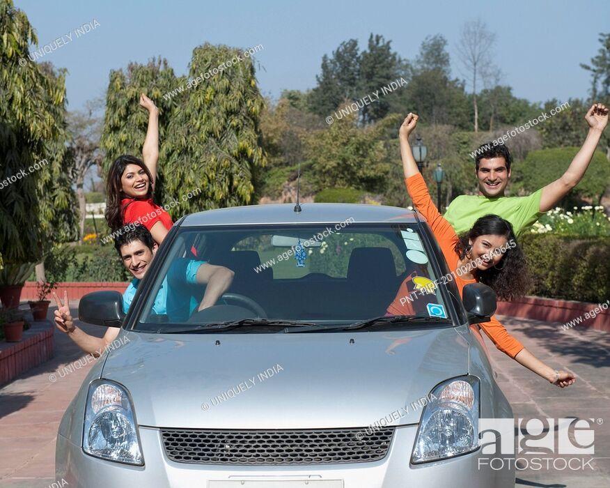 Stock Photo: Friends enjoying in the car.