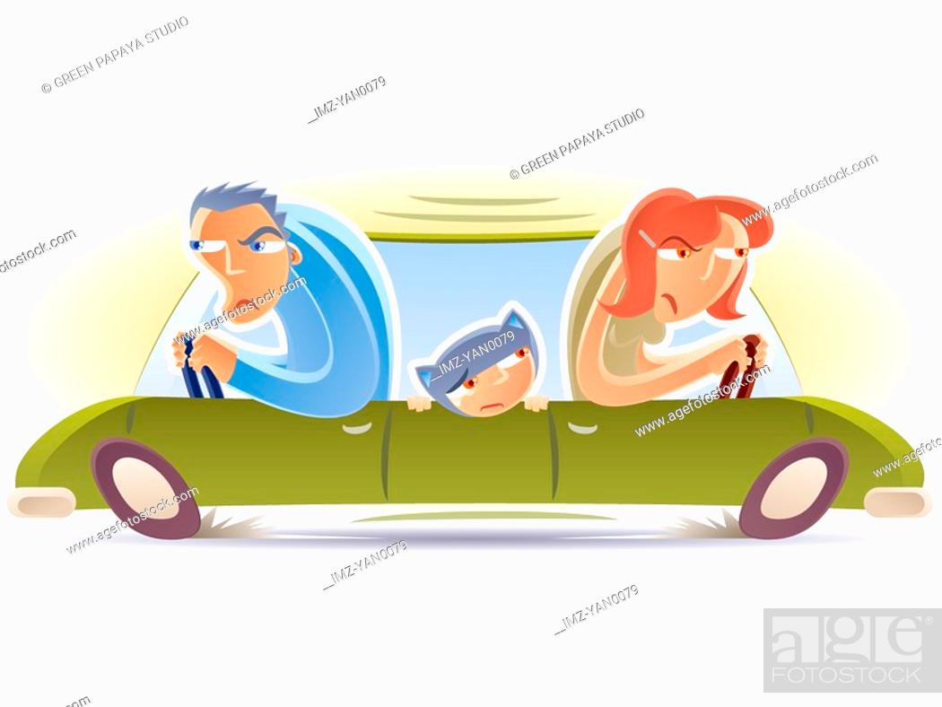 Stock Photo: Husband and wife driving in opposite directions.