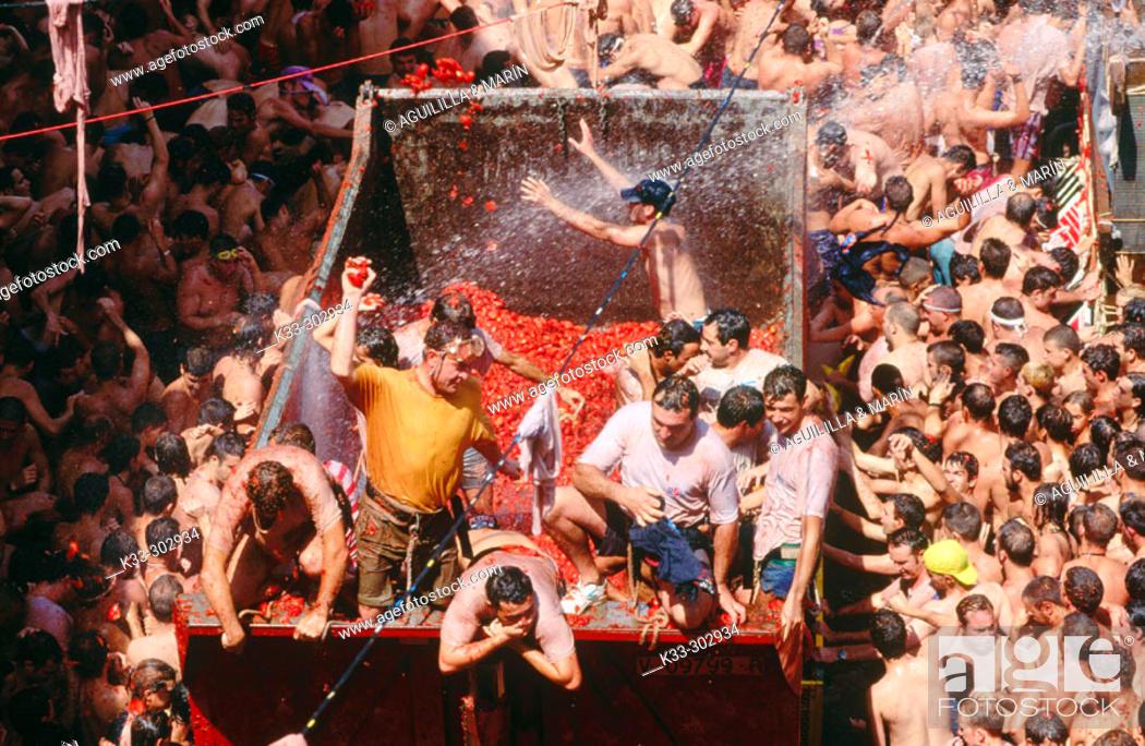 Stock Photo: The Tomatina festival. Bunyol. Valencia province. Spain.