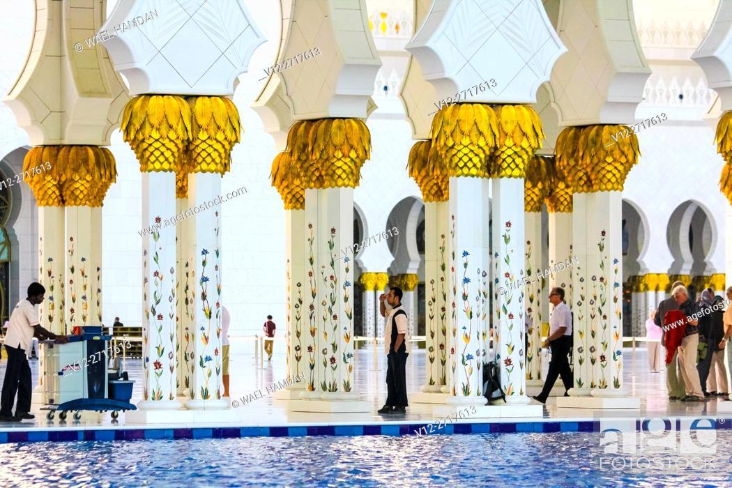 Stock Photo: Sheikh Zayed bin Sultan al-Nahyan Mosque, Abu Dhabi, United Arab Emirates.