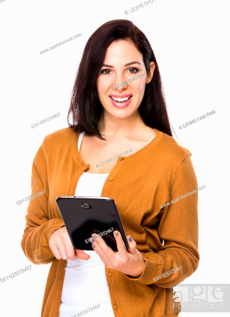 Stock Photo: Woman use of tablet.