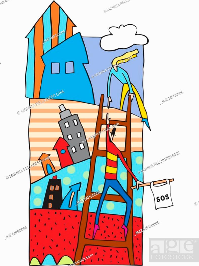 Stock Photo: A woman helping a distressed man to climb a ladder.