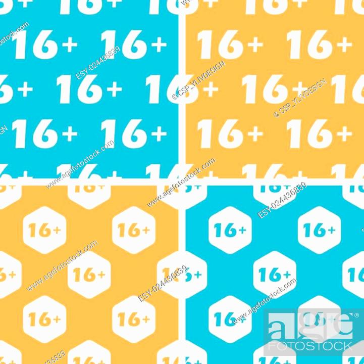 Stock Vector: 16 plus pattern set, colored.