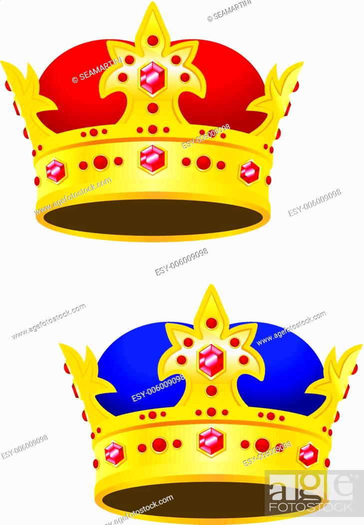 Stock Vector: Golden king crown with gems isolated on white background.