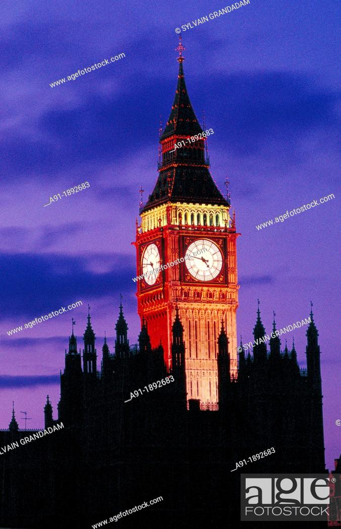 Stock Photo: Big Ben at dusk, London, England, UK.