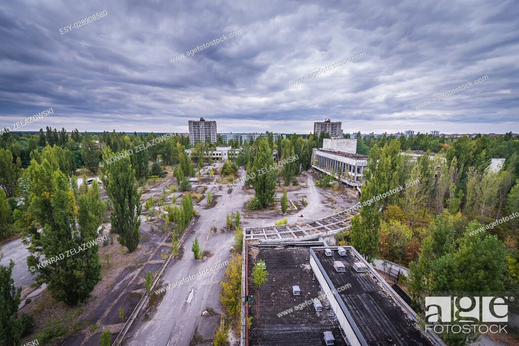 Stock Photo: Main square seen from Polissya Hotel in Pripyat ghost city of Chernobyl Nuclear Power Plant Zone of Alienation in Ukraine.