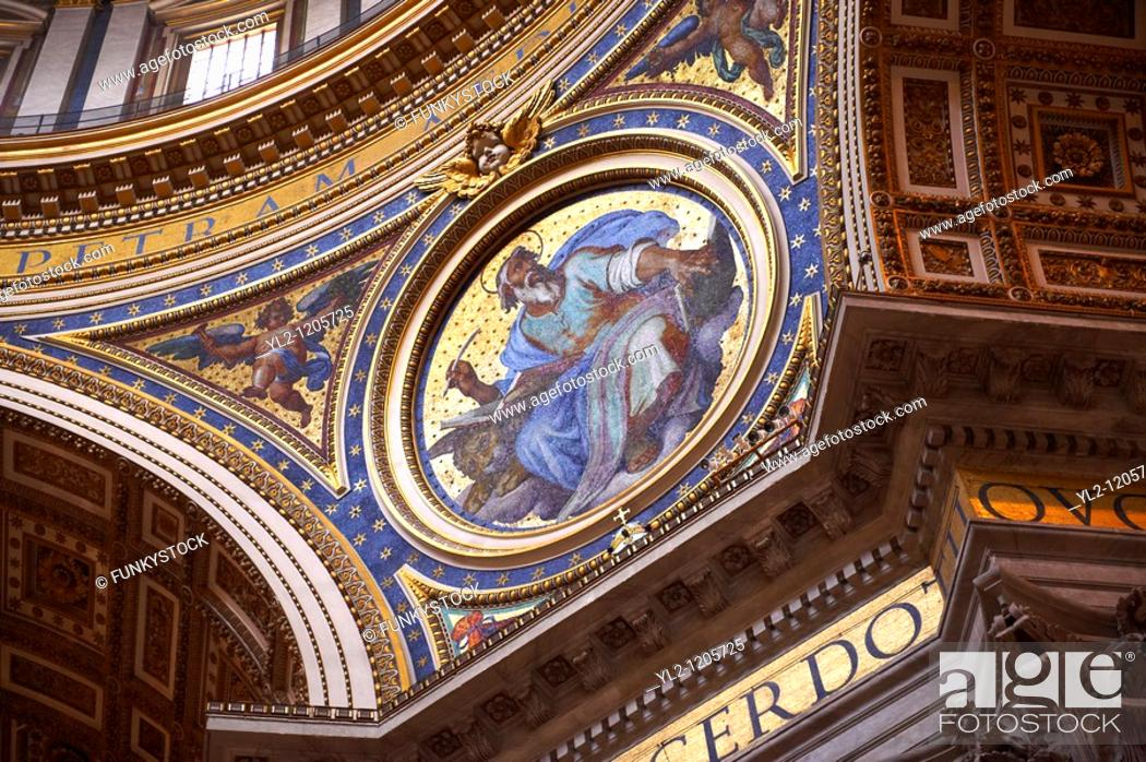 Stock Photo: The dome interior of St Peter's by Michelangelo , The Vatican, Rome.