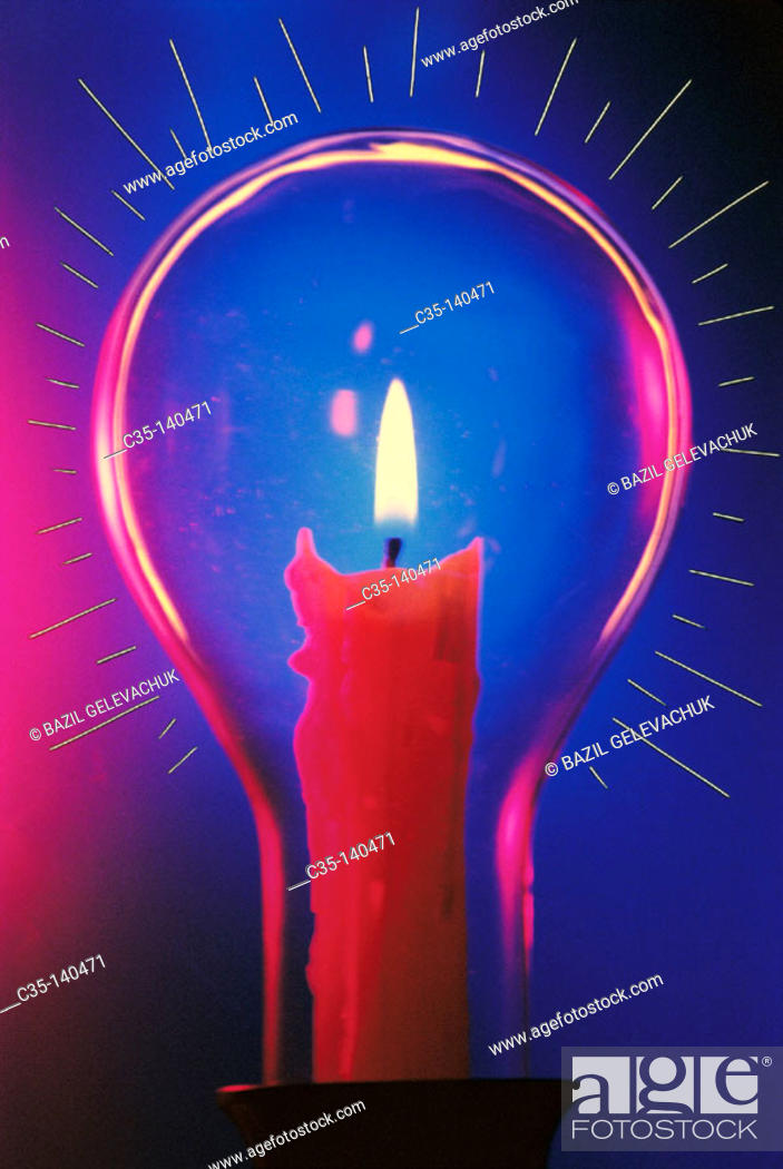 Stock Photo: Candle in bulb.