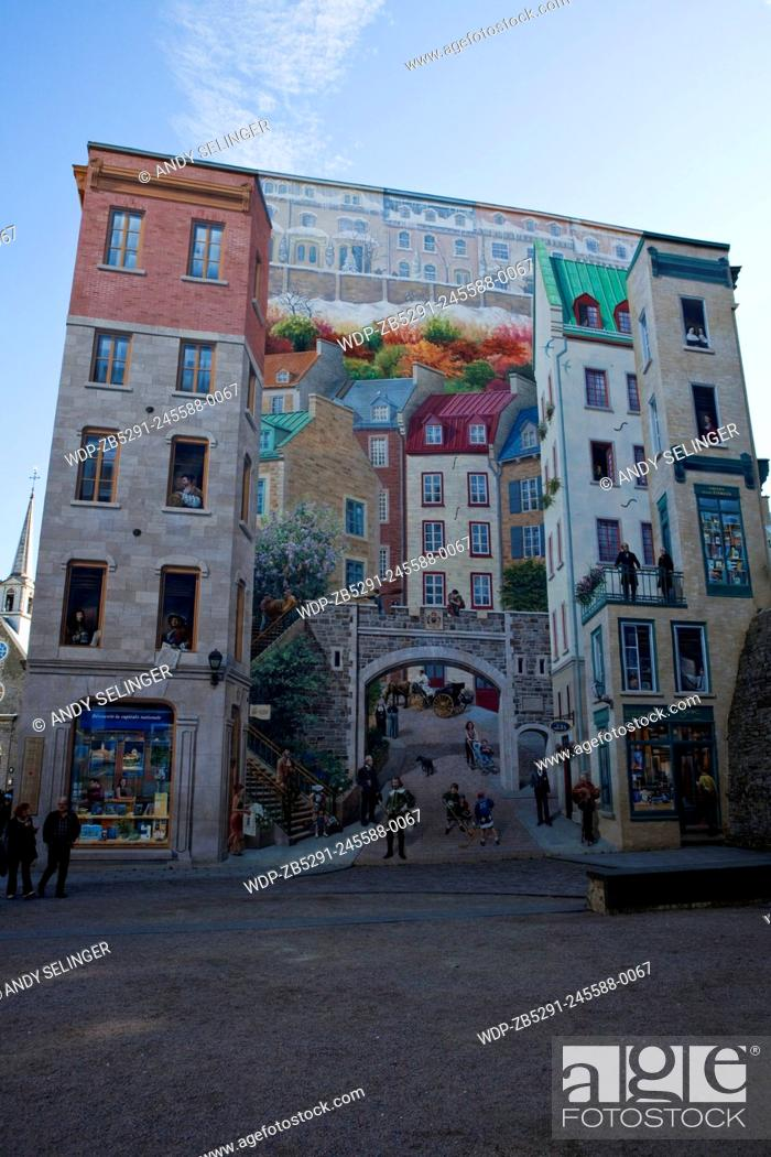 Wall Painting In Quebec City Canada Stock Photo Picture And
