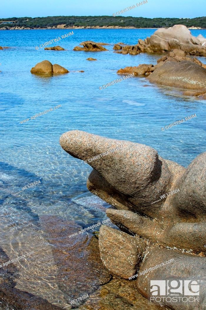 Stock Photo: Green water and funny granite rock shapes on a beach in Costa Smeralda, Sardinia, Italy in March.