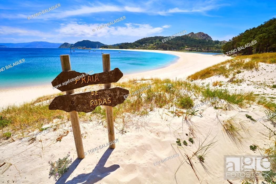 Stock Photo: Praia de Rodas beach sign in islas Cies island in Vigo at Spain.