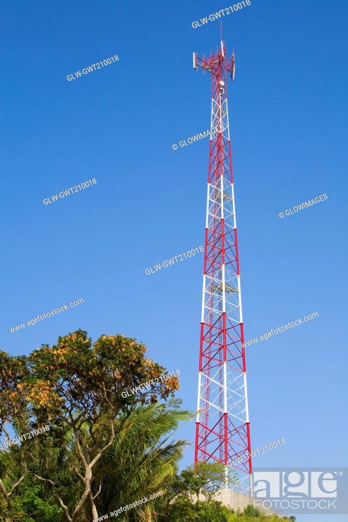 Stock Photo: Low angle view of a communication tower, Roatan, Bay Islands, Honduras.