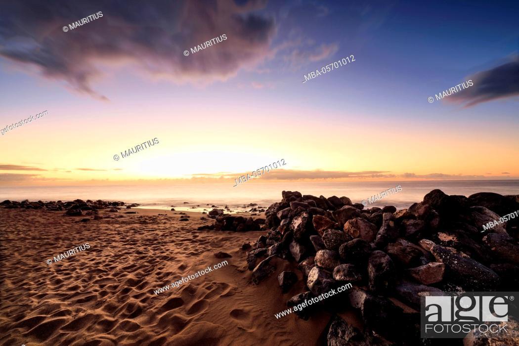 Stock Photo: Spain, Canary Islands, Lanzarote, Puerto del Carmen, beach, sky, sand, early morning, sunrise.