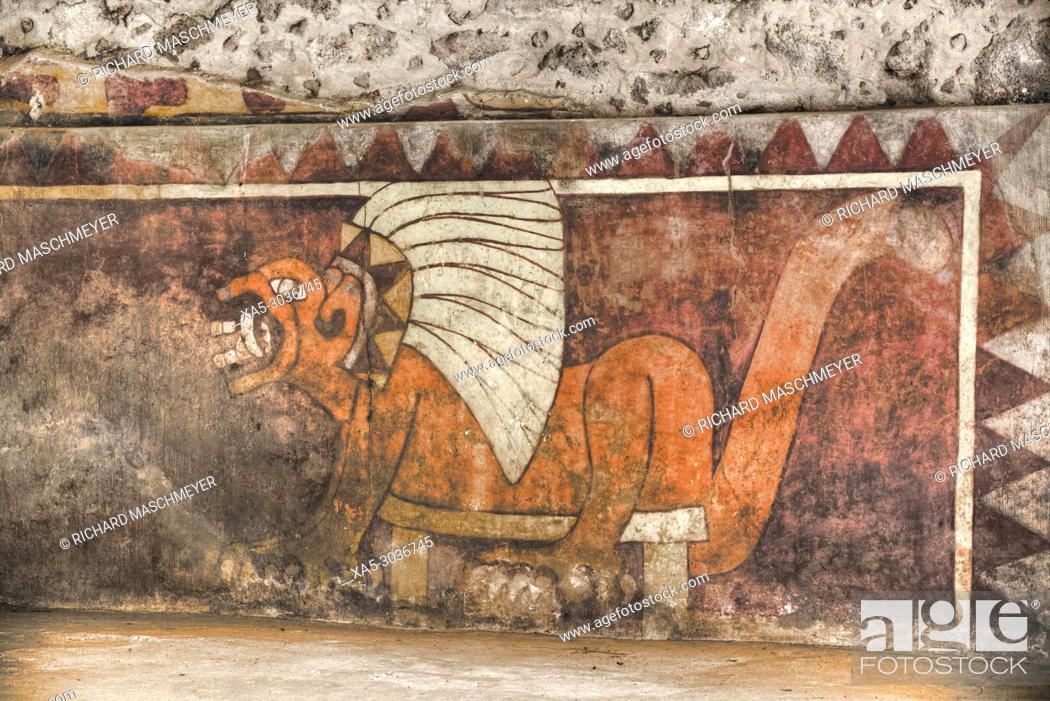Stock Photo: Wall Mural of Jaguar, Palace of Tetitla, Teotihuacan Archaeological Zone, State of Mexico, Mexico.