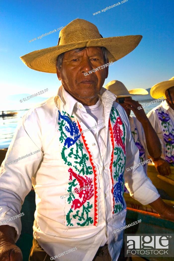 Stock Photo: Portrait of a senior man, Janitzio Island, Lake Patzcuaro, Patzcuaro, Michoacan State, Mexico.
