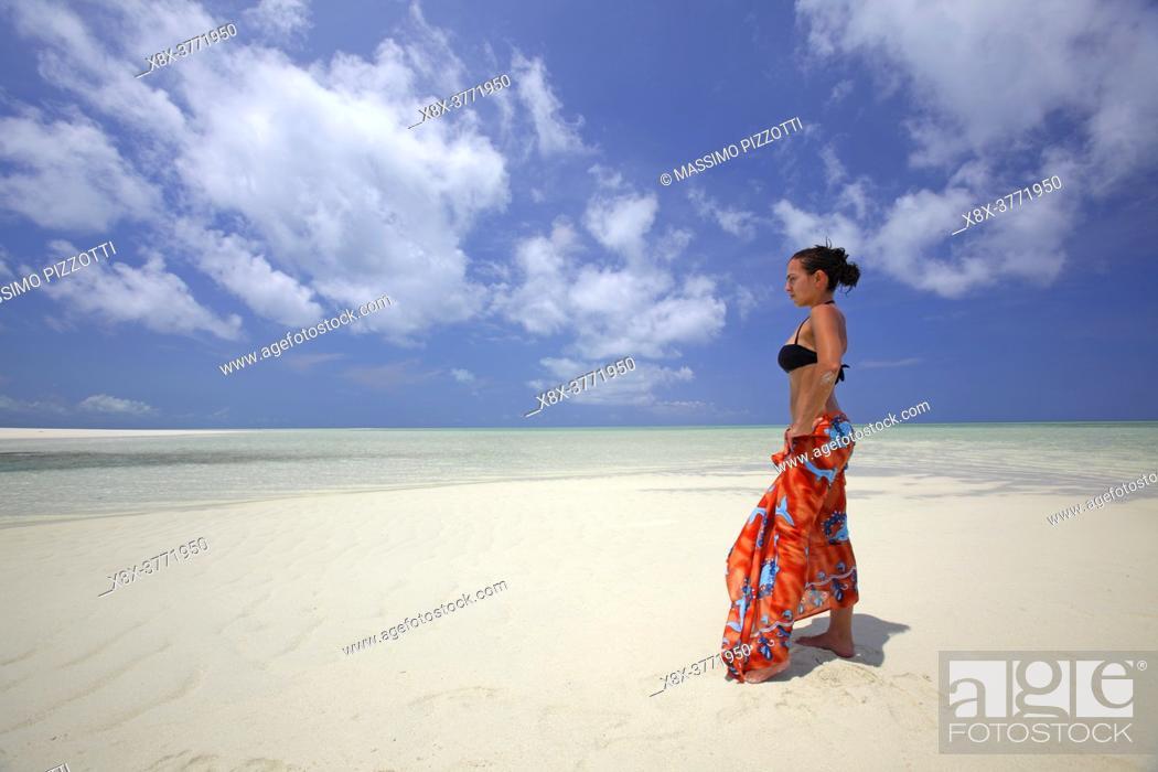 Stock Photo: Young girl on the beach of Kapalai Island, Borneo, Malaysia.