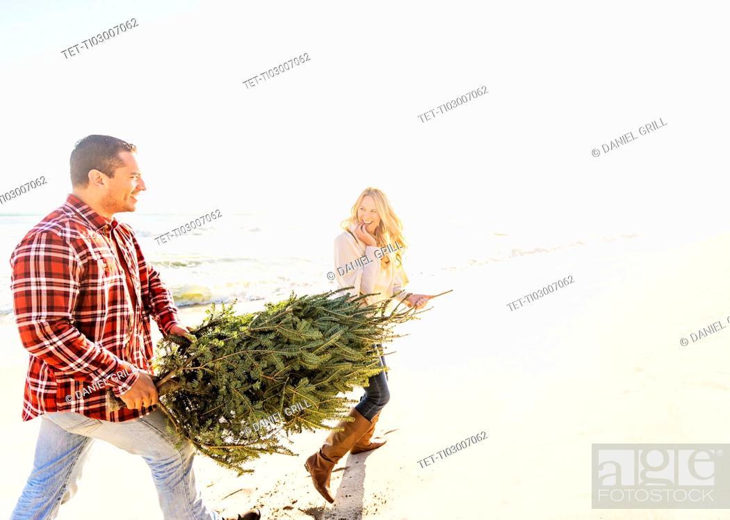 Stock Photo: Loving couple walking on beach with tree.