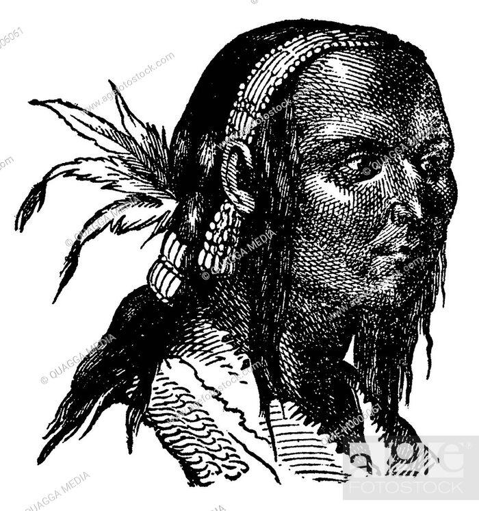 Stock Photo: Portrait of a Kuchin Indian on the Mackenzie.