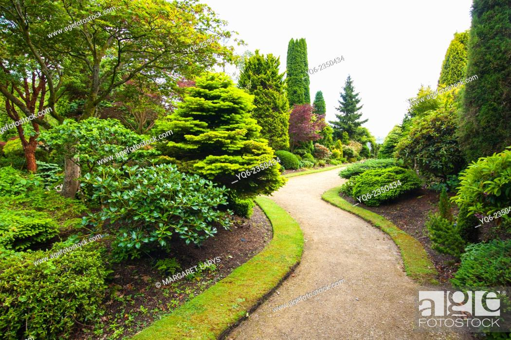 Stock Photo: A fine walled garden with variety of interesting shrubs, flowers and trees. UK.