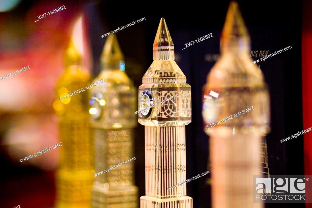 Stock Photo: Big Ben souvenir at a store in Picadilly Circus London, England, UK.