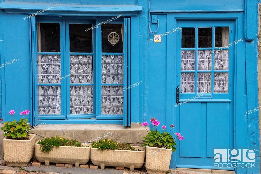 Stock Photo: Blue painted window and door, typical breton facade, old town, Treguier, Cotes d'Armor, 22, Brittany, France.